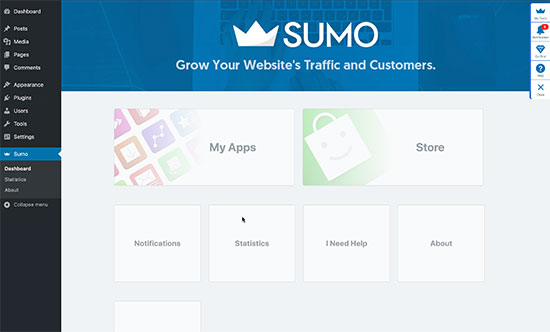 Sumo-Panel im WordPress-Dashboard