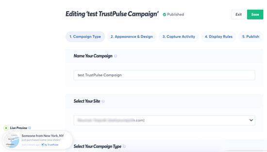 TrustPulse'de açılır bir kampanya oluşturma