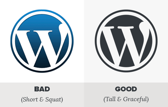 WordPress faux vs real logo