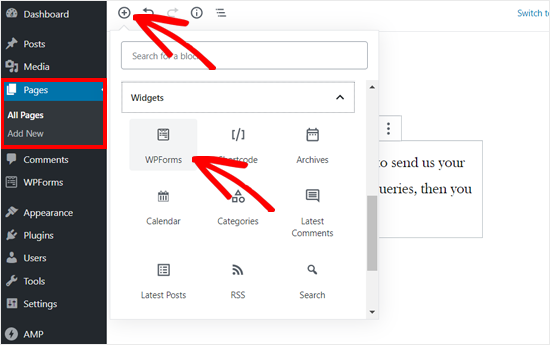 Add WPForms block to WordPress post or page