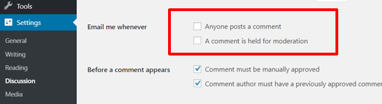 Désactiver les courriels de notification de commentaires dans WordPress