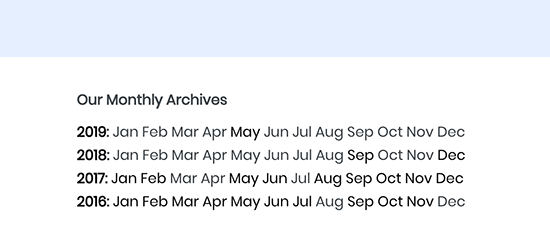 Three letter monthly archives