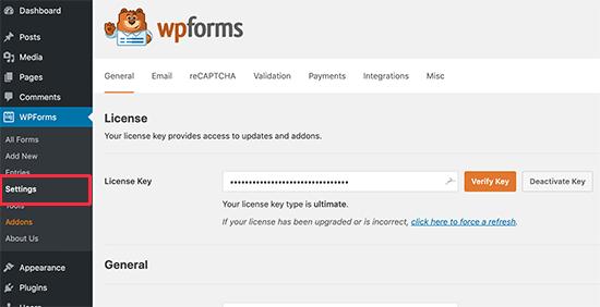 WPForms-licentiesleutel