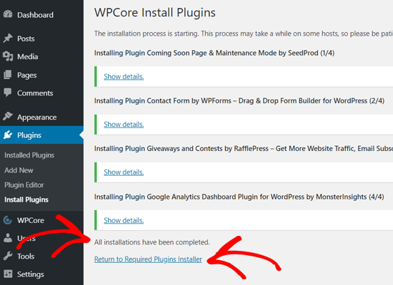 All Plugins Installed in WordPress with WPCore
