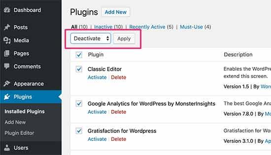 Deactivate all WordPress plugins