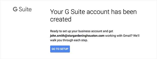 G Suite account created