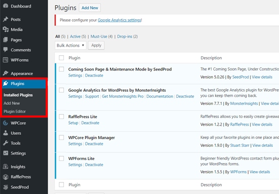 Installed Plugins Page in WordPress