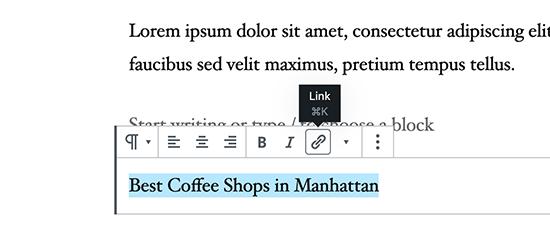 WordPress'e bağlantı ekleme