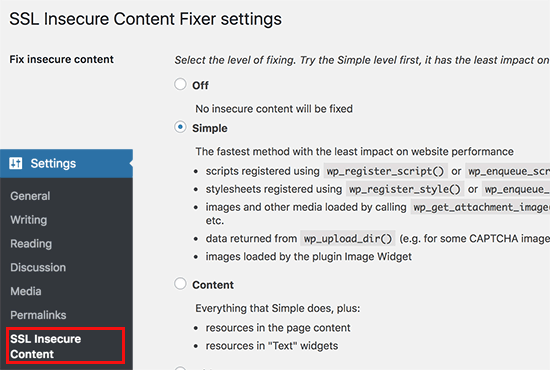Secure Content Fixer plugin settings