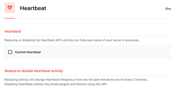 Controling heartbeat API in WordPress using WP Rocket