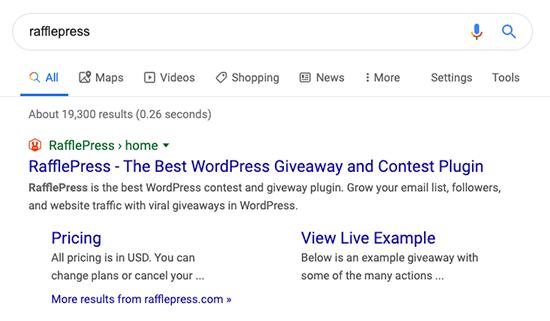 Esempio di collegamento al sito RafflePress