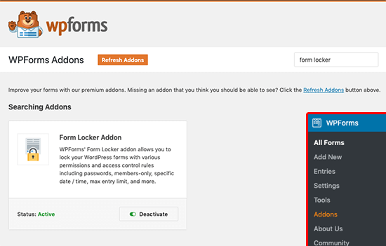 WPForms Form Locker Addon