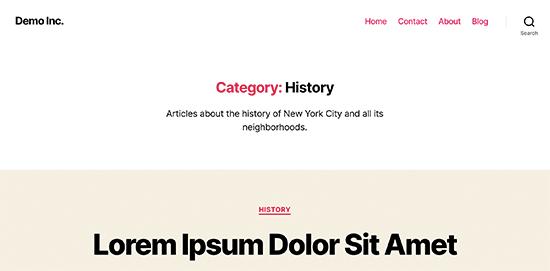 Anteprima della pagina della categoria