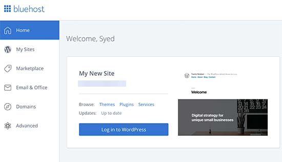 Accedi al tuo blog WordPress dalla dashboard di Bluehost