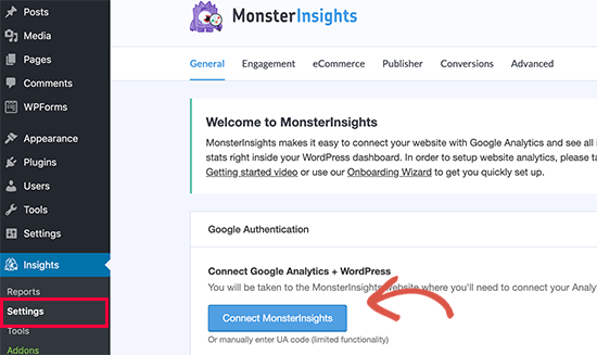 Connect Google Analytics using MonsterInsights