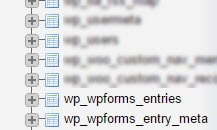 The wp_wpforms_entries and wp_wpforms_entry_meta tables shown in the phpMyAdmin list