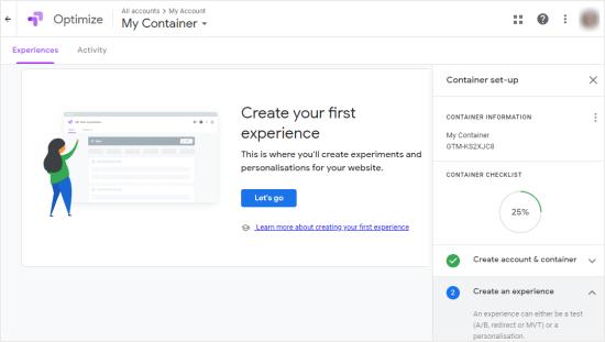 Il tuo account Google Optimize, con le istruzioni dettagliate sulla destra