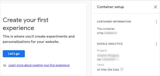 Individuazione dell'ID contenitore di Google Optimize