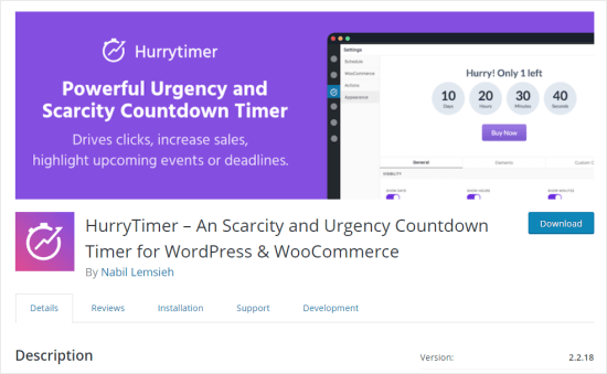 The HurryTimer plugin