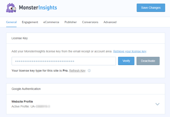 Enter your MonsterInsights license key on the Settings page