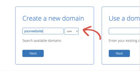 Seleziona il tuo nome di dominio