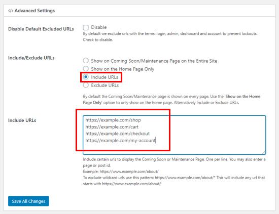Inserisci gli URL che desideri includere in arrivo / modalità di manutenzione