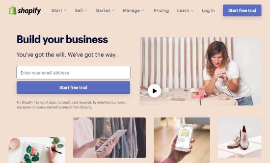 La prima pagina di Shopify