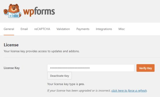 Immissione della chiave di licenza per WPForms