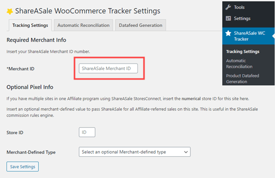 Collegamento del plug-in WooCommerce Tracker ShareASale al tuo account ShareASale