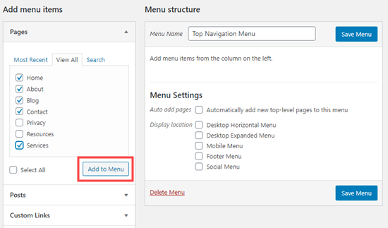 Adding items to the navigation menu