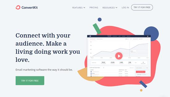 Autoresponder tool ConvertKit's website