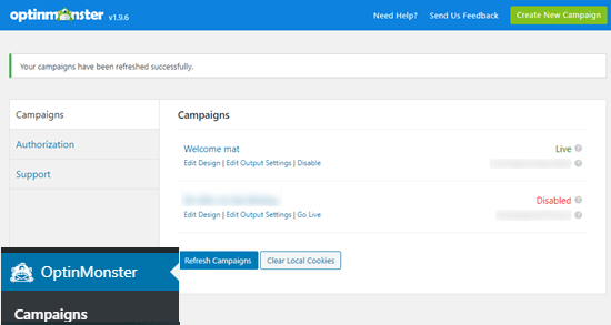 Viewing your OptinMonster campaigns in your WordPress dashboard