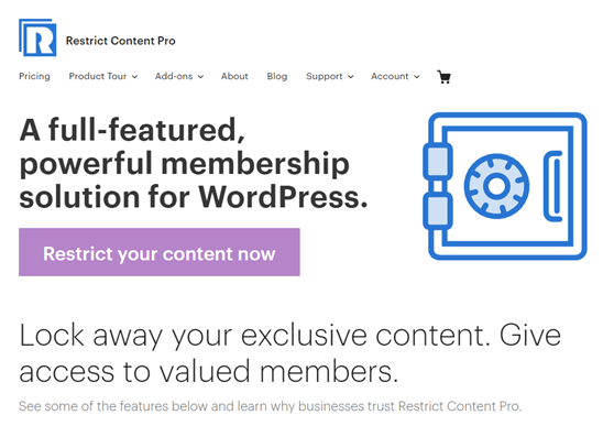 The Restrict Content Pro website