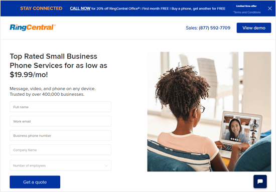 The RingCentral website