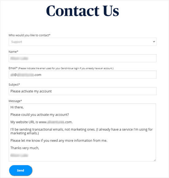 Contact form message to Sendinblue to request account activation