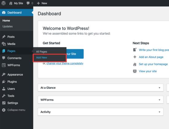 aggiungi una nuova pagina WordPress