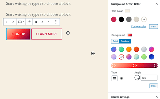 Gradient buttons in WordPress 5.4