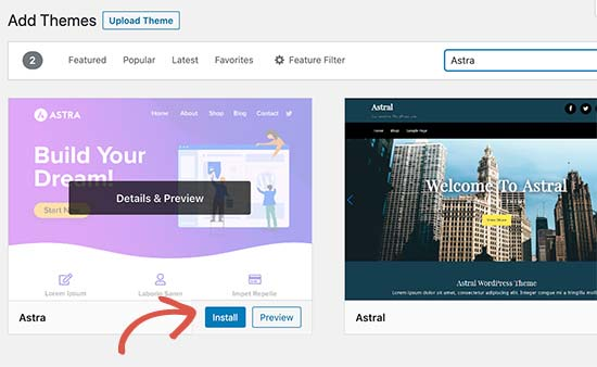 Installa il tema WordPress