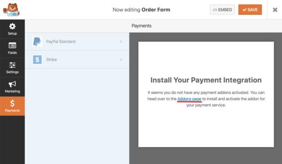 attivare l'integrazione di pagamento Stripe per WPForms