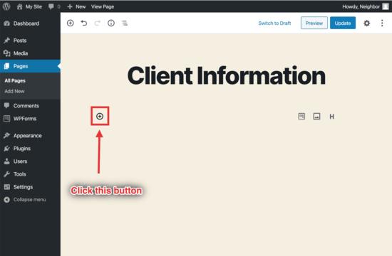 aggiungi il modulo nell'editor di WordPress
