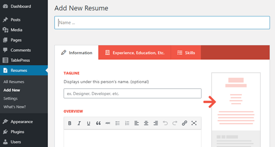 The Resume Builder plugin for WordPress