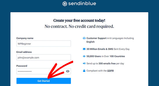 SendinBlue get started