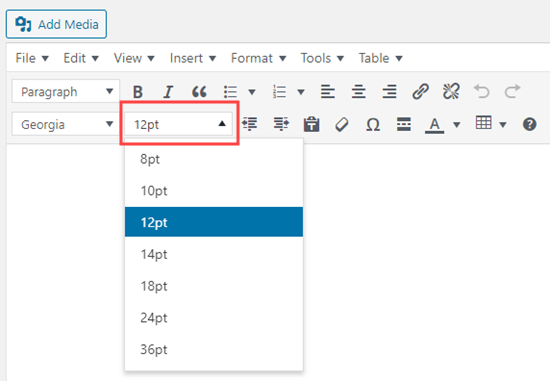 Changing the font size using the TinyMCE Advanced editor