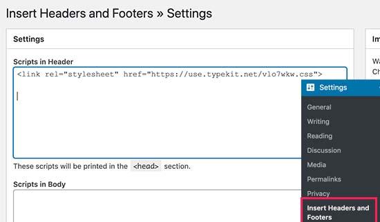 Aggiunta di Typekit di Adobe Fonts in WordPress