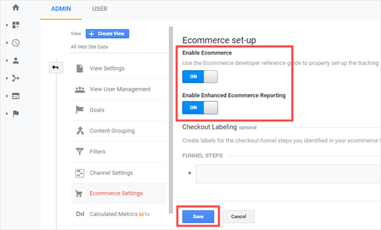 Enabling eCommerce settings in Google Analytics