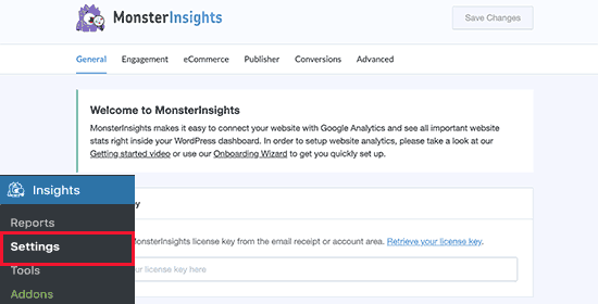 MonsterInsights set up