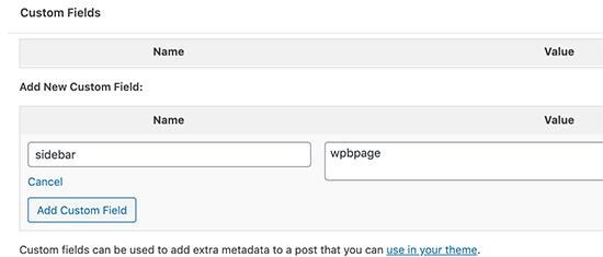 Aggiunta della barra laterale personalizzata a un post utilizzando il campo personalizzato