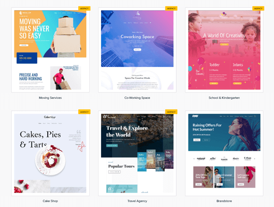 Selection of the 55+ Astra Pro agency templates