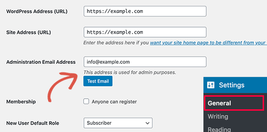 Change admin email address without verification