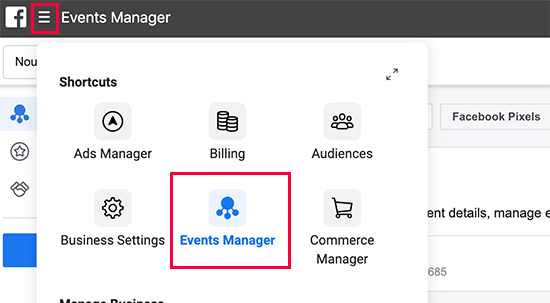 Facebook event manager